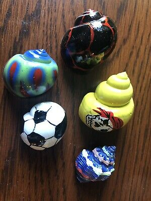 5 Hermit Crab Painted Changing Shells, Small Size, Pirate, Soccer, More