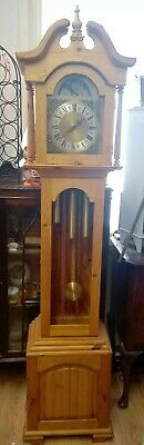 Grandfather Clock pine cased Hermle Westminster chime running keeping great time