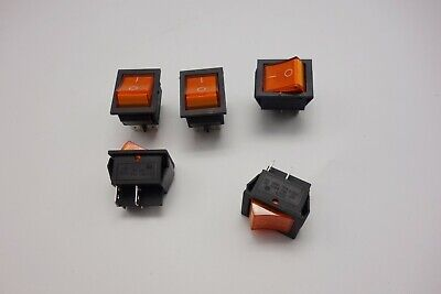 5Pcs Yellow 220V Light Illuminated 2 Position ON/OFF Boat Rocker Switch 4 Pin
