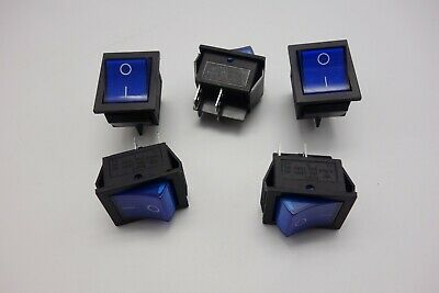 5Pcs Blue Light Illuminated 2 Position ON/OFF Boat Rocker Switch 4 Pin 12V DC/AC