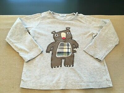 Baby Boden Boys Size 2-3 Years 2T-3T Gray Long Sleeve Applique Bear Shirt
