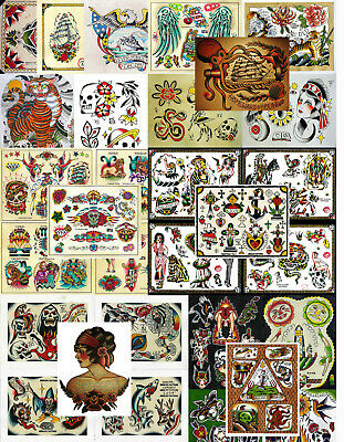 "Vintage Traditional Style Tattoo Flash Collection, Lot, 32 Sheets 11x14"" Ships"