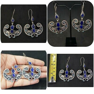 Beautiful Afghan Silver Plated Earring with lapis lazuli And Turquois stone #36A