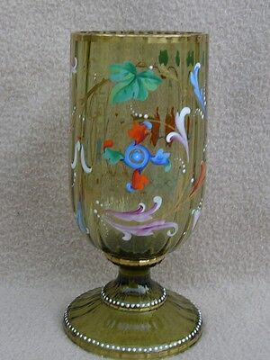 Antique Victorian Continental Bohemian Moser Amber Glass & Enamel Glass Goblet