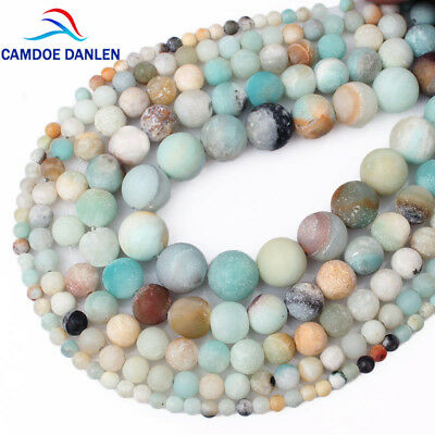 Natural Stone Matte Frost Amazonite Round Loose Beads For Bracelet Making