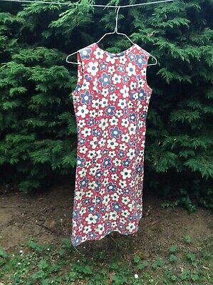 Vintage 1960s Floral shift dress mod GoGo size 10 12
