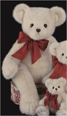 "NWT Bearington Bears /""Lil/' Lovable/"" White Bear with Red Ribbon #192017 FREE SHIP"