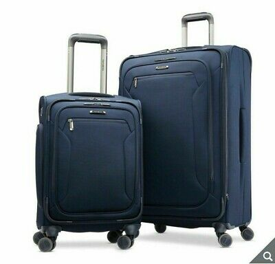 Samsonite Explore Eco 2 Piece Softside Spinner Suitcase Set, Navy *Cabin Large*