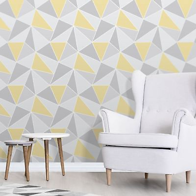 Wallpaper Triangles Silver Grey Mustard Yellow Metallic Shimmer