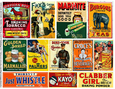 12 ADVERTISING & General Store SIGNS Stickers, 1 Sheet, Junk Journal & Collage