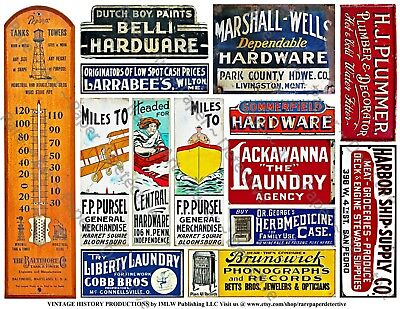 14 ADVERTISING & HARDWARE STORE SIGNS Stickers, 1 Sheet, Junk Journal & Collage