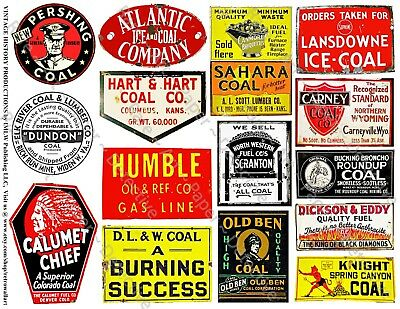 15 ADVERTISING & GENERAL STORE COAL SIGNS Stickers, 1 Sheet, Collage & Scrapbook