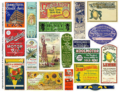 18 ADVERTISING SIGNS & LABEL Stickers, 1 Sheet, Junk Journal & Collage Art Tags