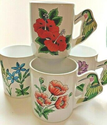 Set 4 Vintage coffee Mugs cups Hummingbird Handled Flowers Nature PMC Taiwan
