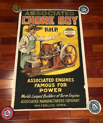 New 24x36 large print: Associated Chore Boy hit and miss gas engine poster sign