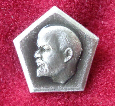 Lenin Communism Leader Red Propaganda Soviet Russia Vintage Pin Badge USSR