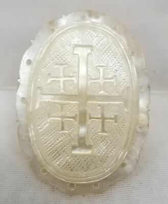 Antique Finely Carved Religious Cross Mother of Pearl Abalone Plaque Pendant