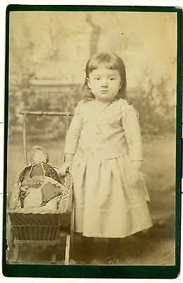 cabinet card 2 yr old girl has china doll in childs wicker baby buggy/pram id'd