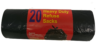 20 Heavy Duty BLACK Refuse Sacks Strong Rubbish Bags Bin Liners