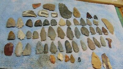 Large 50  pc lot Arrowhead Spear Points Knife Blades and Pottery shards