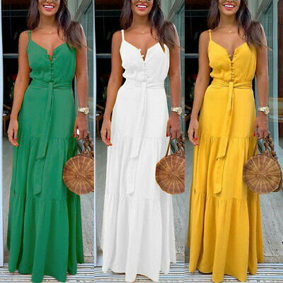 Fashion Women Summer Boho Sleeveless Strappy V-neck Bandage Party Beach Dress HY