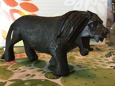 Detailed Primitive Hand Carved Roaring Black Wooden Lion Folk Art Animal Africa