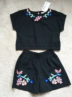 Girls M&S Summer Outfit Two 2 Piece Shorts and Top Set Bnwt Rrp £22 Age 6-7