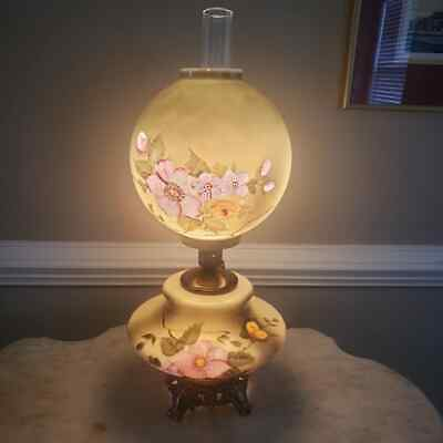 """Antique Victorian Green Hand Painted Gone with the Wind Lamp Very Large 30"""""""