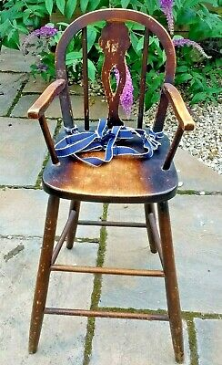 ANTIQUE 1920's-30's CHILD'S SOLID DARK OAK STAINED SLAT BACK WINDSOR HIGH CHAIR