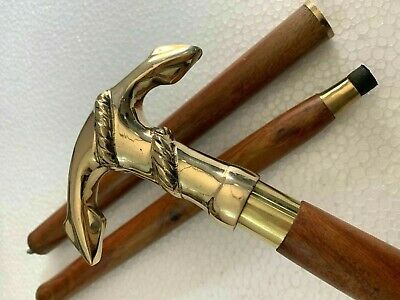 Solid Brass Ship Anchor Head Handle Antique Wooden Walking Stick Shaft Cane Gift