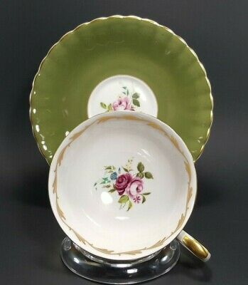 Susie Cooper, Sage Green Teacup and Saucer, English Bone China