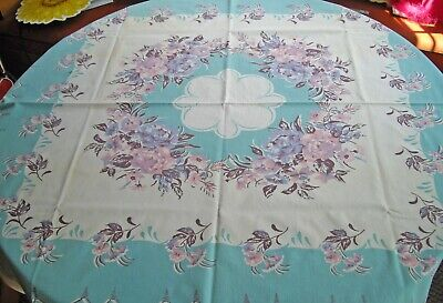 "Vintage Cotton White & Turquoise w/ Pink & Blue  Flowers Table Cloth ~ 48"" x 50"""