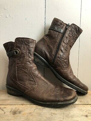 08ebf960c0fbd RIEKER BROWN SIDE Zip Square Toe Lace Vintage Style Granny Boots 40 ...