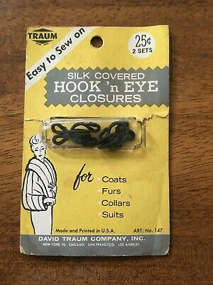 Vintage Traum Silk Covered Hook n' Eye Closures~Coats~Collars~Suits~Furs~NOS