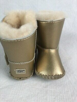 UGG Gold Boots Toddler Baby 2 3 Leather Fur Lined Metallic Shearling Girls Shoes