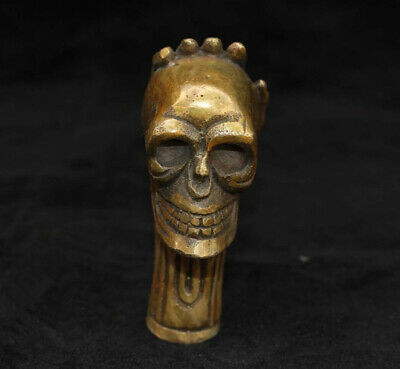 1PCS Chinese Old Bronze Handmade Carved Skull Statue Cane Walking Stick Head