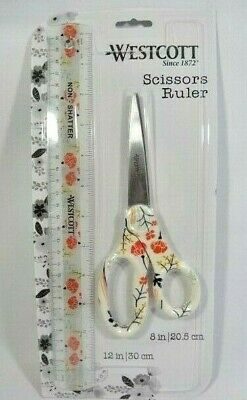 Westcott Scissors Ruler Stainless Steel Blade Craft Office Workshop Cream Floral