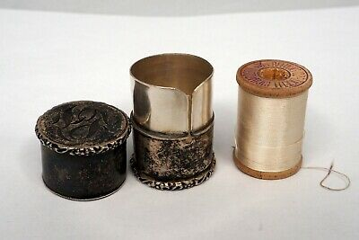 Antique Sterling Silver Sewing Thread Spool Container Case