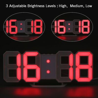 USB Large 3D Modern Digital LED Wall Clock 24/12 Hour Display Timer Alarm Clock