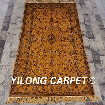 YILONG 3'x5' Ancient Handmade Silk Carpet Washed Gold Antistatic Area Rug G64C