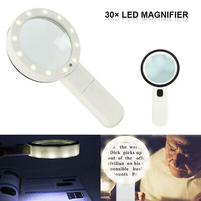 Magnifying Glass Led Light 30X High Power Handheld Illuminated Magnifier Jumbo
