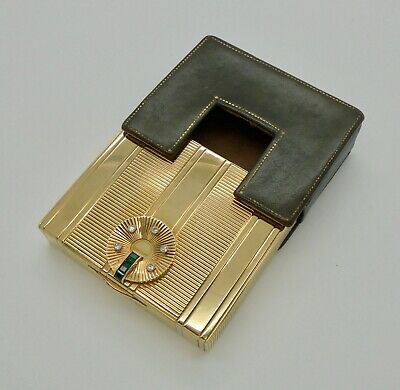 Vintage Tiffany & Co Art Deco Emerald Diamond 14k Gold Large Vanity Compact Case