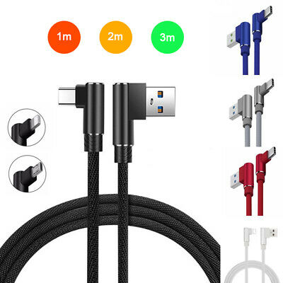 90° Right Angle Braided Type C iOS Micro USB Data Snyc Phone Charger Cable Cord
