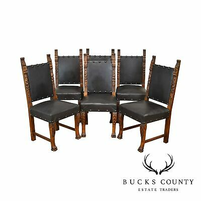 Italian Renaissance Style Antique Set 6 Carved Walnut Dining Chairs