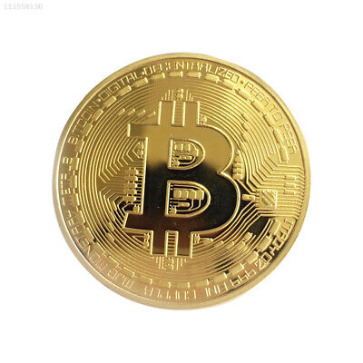 16E7 Gold Bitcoin Plated Coin Art Virtual Money BTC Electroplating