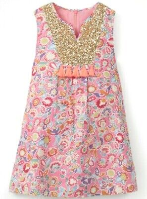 Ex Mini Boden Girls Dress.Sequin detail Pink Turquoise Tropical Paisley.Age 3-10