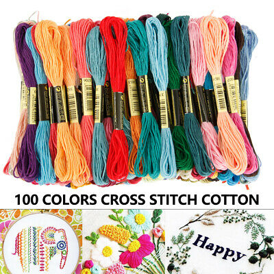 100 Coloured Egyptian Cotton Embroidery Cross Stitch Thread Floss Sewing Skeins
