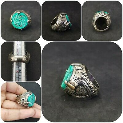 Islamic Old Silver Plated Ring With Beautiful Turquoise Writing Stone # 3B