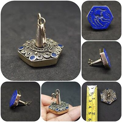 Islamic ancient rare stump with intagilo Deer lapis lazuli stone # A12