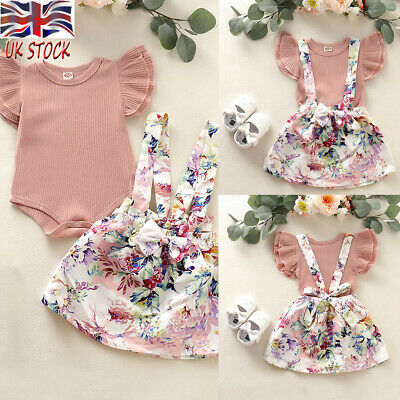 Newborn Baby Kid Clothing Frill Ruffle Bodysuit & Bowknot Skirt Girl Baby Outfit